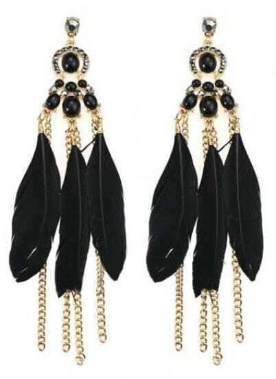 Black Feather Tassel Chain Dangle Earrings