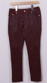 Wine Red Low Waist Skinny Pant