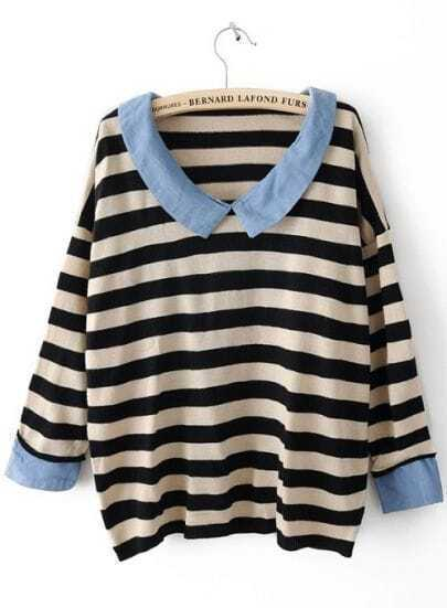 Black White Striped Long Sleeve Denim Sweater