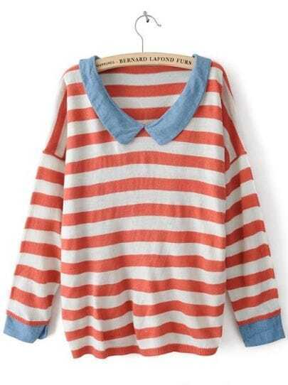 Red White Striped Long Sleeve Denim Sweater