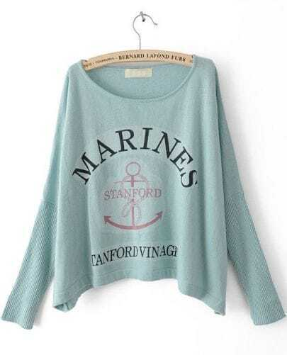 Blue Batwing Long Sleeve Letters Print Pullovers Sweater