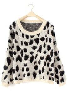 White Long Sleeve Leopard Loose Pullovers Sweater