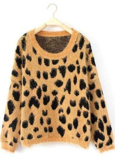 Yellow Long Sleeve Leopard Loose Pullovers Sweater