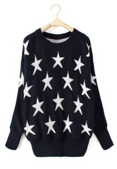Navy Batwing Long Sleeve Stars Print Pullovers Sweater