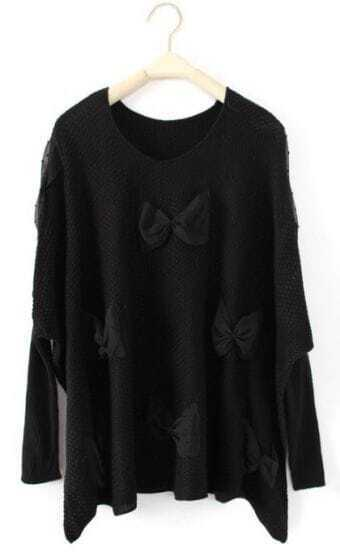 Black Long Sleeve Lace Bow Pullovers Sweater