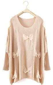 Beige Long Sleeve Lace Bow Pullovers Sweater