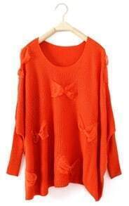 Orange Long Sleeve Lace Bow Pullovers Sweater