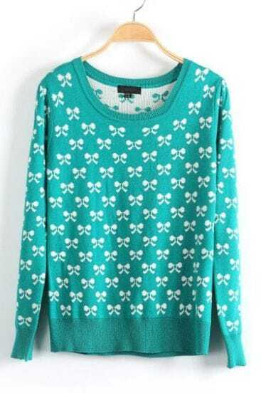Green Long Sleeve Bow Print Pullovers Sweater