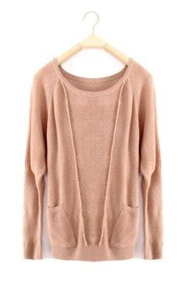 Khaki Long Sleeve Pockets Wool Pullovers Sweater