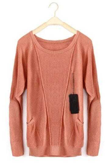 Pink Long Sleeve Pockets Wool Pullovers Sweater