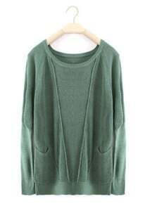 Green Long Sleeve Pockets Wool Pullovers Sweater