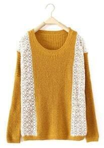 Yellow Round Neck Long Sleeve Lace Pullovers Sweater