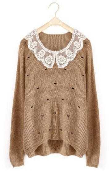 Khaki Long Sleeve Lace Lapel Bow Print Sweater