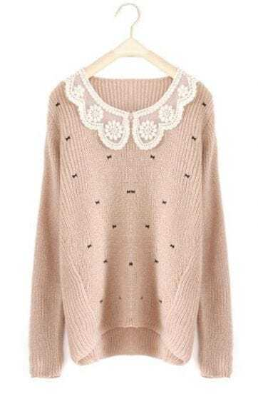 Pink Long Sleeve Lace Lapel Bow Print Sweater