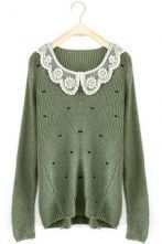 Green Long Sleeve Lace Lapel Bow Print Sweater