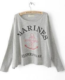 Grey Batwing Long Sleeve Letters Print Pullovers Sweater