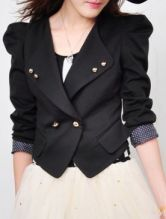 Black Puff Sleeve Buttons Embellished Suit