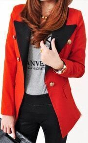 Orange Contrast Collar Long Sleeve Shoulder Pads Suit