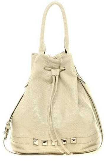 Nude Rivet Drawstring Shoulder Bag
