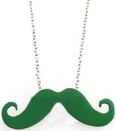 Green Mustache Long Chain Necklace
