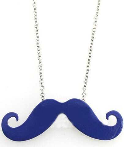 Blue Mustache Long Chain Necklace