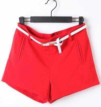 Red Drawstring Waist Pockets Shorts