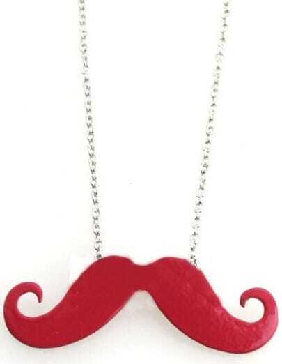 Red Mustache Long Chain Necklace