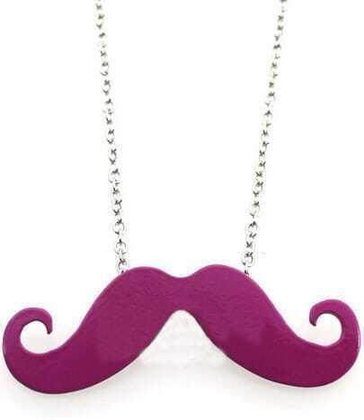 Purple Mustache Long Chain Necklace