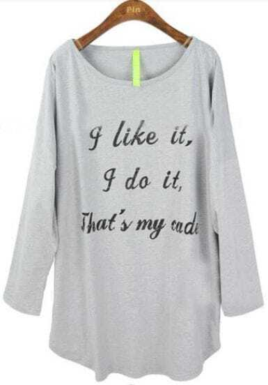 Grey Batwing Sleeve Letters Print Loose T-Shirt