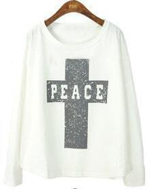 White Batwing Long Sleeve Cross Print T-Shirt