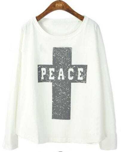 White Batwing Long Sleeve Cross Print T-Shirt