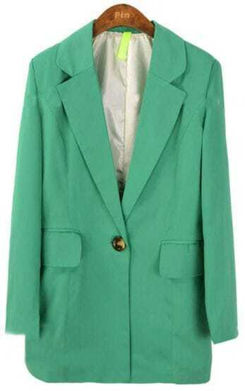 Green Notch Lapel Long Sleeve Pockets Loose Suit