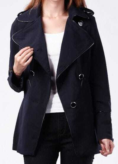 Navy Lapel Long Sleeve Zipper Trench Coat