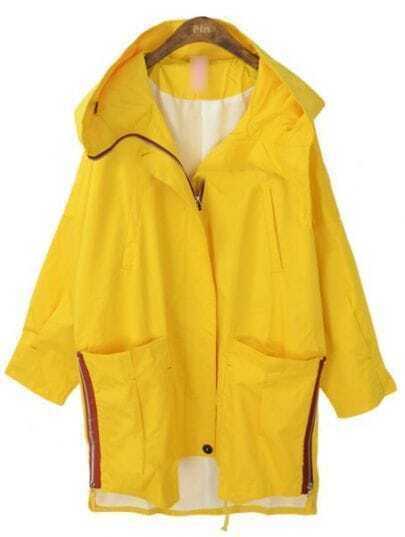 Yellow Hooded Long Sleeve Batwing Trench Coat
