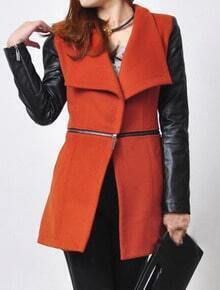 Orange Contrast PU Leather Long Sleeve Zipper Coat