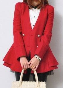 Red Long Sleeve Double Breasted Ruffles Coat