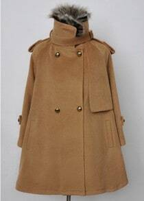 Camel Removable Fur Collar Epaulet Cape Coat