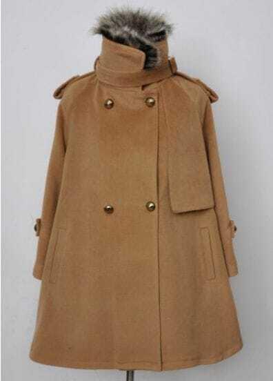 Camel Removable Fur Collar Epaulet Cape Coat