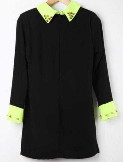 Black Contrast Collar Long Sleeve Rivet Dress