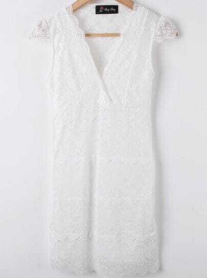 White Short Sleeve Hollow Lace Bodycon Dress
