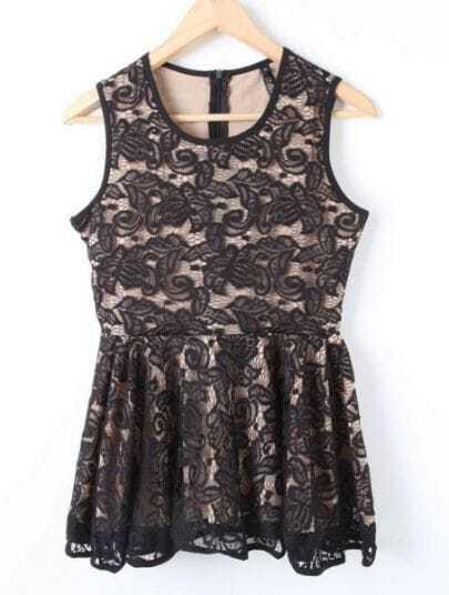 Black Sleeveless Embroidery Ruffles Dress