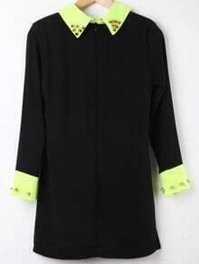 Black Contrast Collar Long Sleeve Rivet Dress