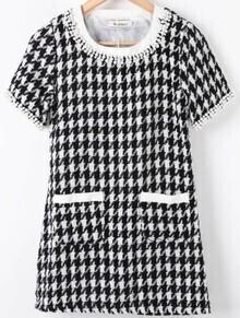Black White Plaid Beading Fringe Pockets Dress