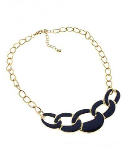 Navy Chain Long Gold Necklace