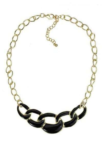 Black Chain Long Gold Necklace