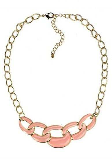 Pink Chain Long Gold Necklace