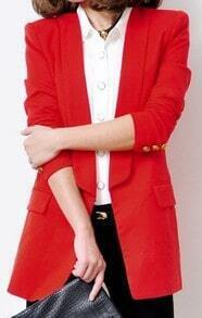 Red Lapel Long Sleeve Buttons Fitted Suit