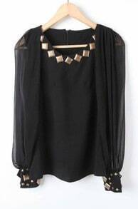 Black Long Sleeve Rivet Embellished Chiffon Blouse