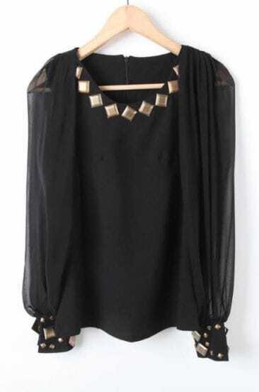 Black Long Sleeve Rivet Embellished Chiffon Blouse