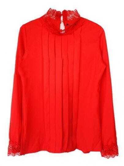 Red Lace High Neck Long Sleeve Ruffles Chiffon Blouse